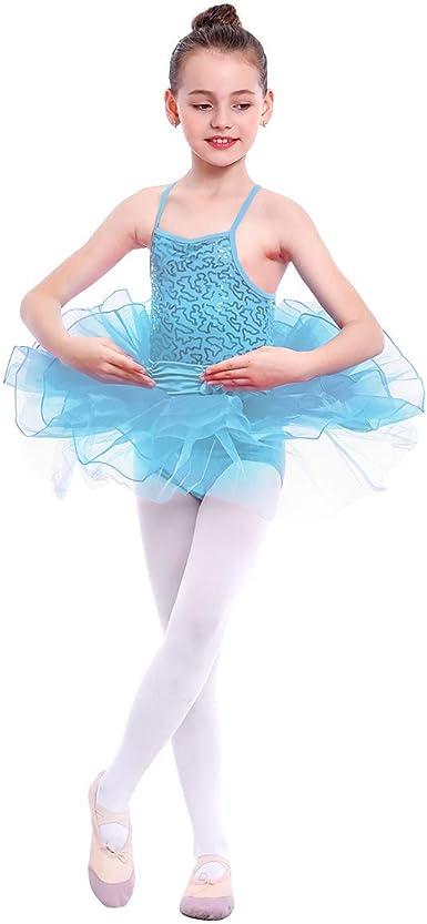 UK Girls Sequins Dance Dress Spaghetti Straps Leotard Gymnastics Tutu Dancewear