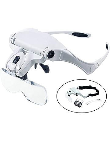 LED Lupa Gafas con Luz Manos Libres Cabeza Lupas de Aumento para Extensión de Pestañas,