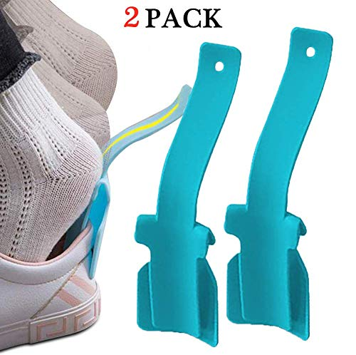 2pcs Shoe Support Portable Sock Slider – Lazy Shoe Helper,Handled Shoe Horn Shoe Lifting Helper,Easy on Easy Off, Plastic Shoehorn for Men,Women & Kids – Fits for All Shoes