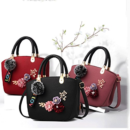 Three Simple Exquisite Color And DEI Messenger Shoulder Bag QI Purple Dimensional Bag Bag Female Black Handbag Wild Fashion Bag Embroidery Small nOn81gU