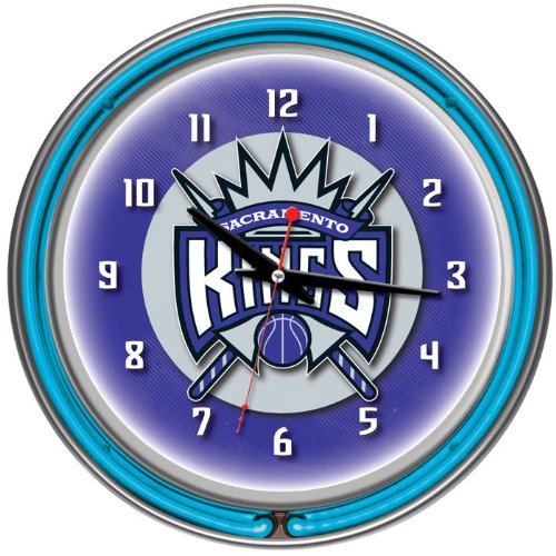 NBA1400-SK-Sacramento Kings NBA Chrome Double Ring Neon Clock