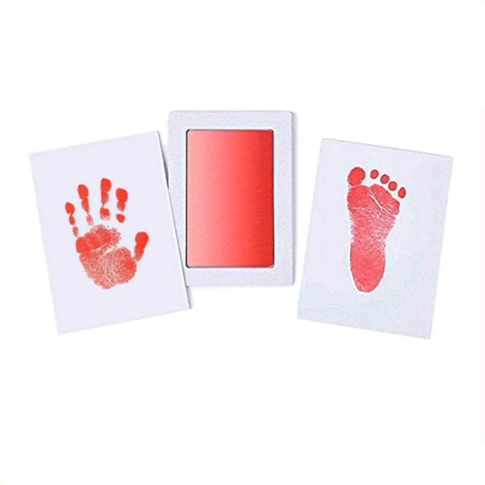 BabyClean Touch Handprint and Footprint Kit | includes Ink Pad and two imprint cards | Inkless - babyskin has no contact with the ink | (Red) Junxave