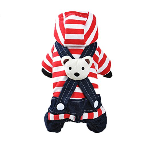 Uniquorn 2016 Winter New Dog Clothing Fashion Cute Striped Bear Strap Trousers Teddy Poodle Warm And Comfortable Dog (70s Cop Costume)