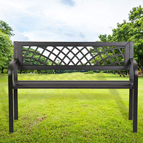 FDW Patio Park Garden Bench Porch Path Chair Outdoor Deck Steel Frame, Black (Outdoor Steel Bench)