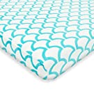 """American Baby Company Heavenly Soft Chenille Fitted Pack N Play Playard Sheet, Aqua Sea Wave, 27"""" x 39"""""""