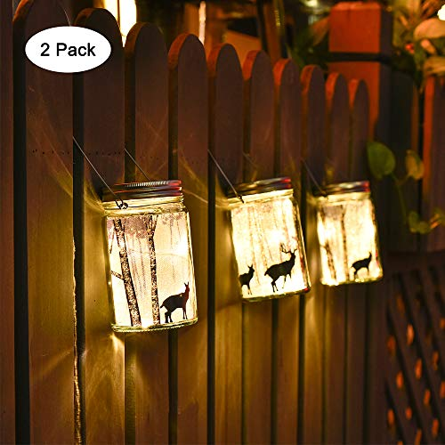 (Mason Jar Hanging Lights led Light Bulbs led Bulb Smart Bulb Warm White Fairy Led String Lights Elk's Shadow Laterns Table Lights for Outdoor Patio Party Garden Wedding Christmas Decor Lights 2 Pack)