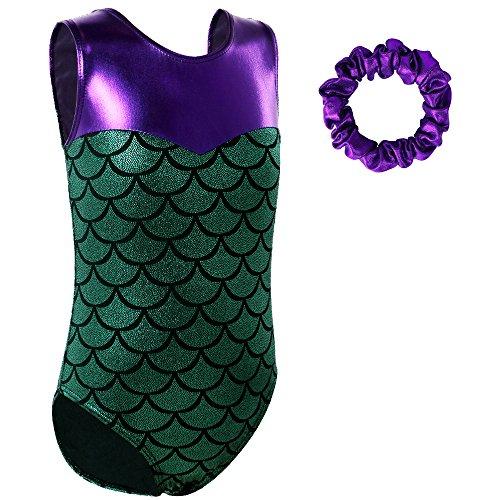 (BAOHULU Girls Gymnastics Leotard Sparkle Mermaid Peacock Fancy Shiny Dance Costumes, 6A(4-5T), Green and)