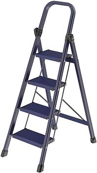 Escalera pequeña para el hogar Escalera de 4 peldaños Escalera de aleación de aluminio Taburete de ingeniería Taburete para escaleras Tipo Y Taburete de paso Peso del cojinete 150 kg Azul GW: