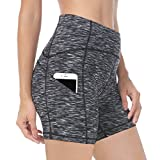 "QUEENIEKE Women Mid Waist Yoga Running Shorts 6"" Phone Pockets Tummy Control"