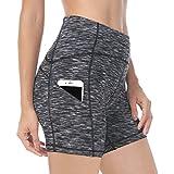 "Queenie Ke Women 6"" Inseam Power Flex High Waist 3-Pocket Running Shorts Workout Fitness"