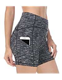 "Queenie Ke Women High Waist Yoga Running Shorts 6"" Phone Pockets Tummy Control"