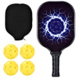 Jun Tung Pickleball Paddle Bundle Set Includes One Graphite Paddles + Four Balls + Classic Rackets Feature Graphite Face with PP Honeycomb Core