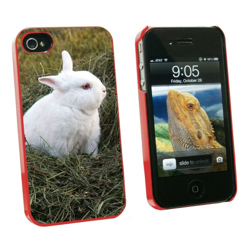 Graphics and More Bunny Rabbit White - Easter - Snap On Hard Protective Case for Apple iPhone 4 4S - Red - Carrying Case - Non-Retail Packaging - Red