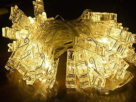 Blanco c/álido Adurei 5m//16.4ft 50 LED Photo Clips Luces Cadena con Control Remoto Bater/ía Cargada 8 Modos Iluminaci/ón para Colgar Fotos para Fiesta Interior//Exterior /…