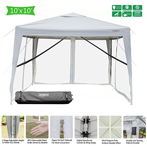 VINGLI 10′ x 10′ EZ POP UP Canopy Tent with 4 Removable Mesh Sidewalls,Shelter Anti-UV Anti-Mosquito, Screen House Family Party,Folding Instant Commercial Wedding Gauze Gazebo,Wheeled Carry Bag,White