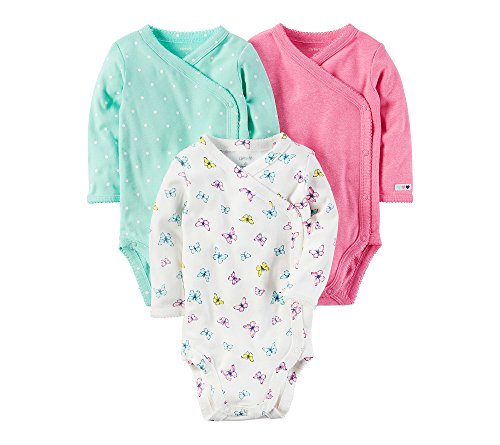 Baby Three Pack Bodysuits (Carter's Baby Girls' 3-Pack Side Snap Bodysuits Newborn)