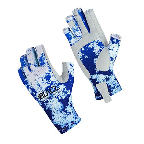 RUNCL Fishing Gloves, Fingerless Gloves, Sun Gloves - Stretch Fit, Breathable Ventilation, Sun Protection, Fingerless Design, Angling-Specific Design - Fishing, Kayaking, Cycling (Camo Blue, S/M)