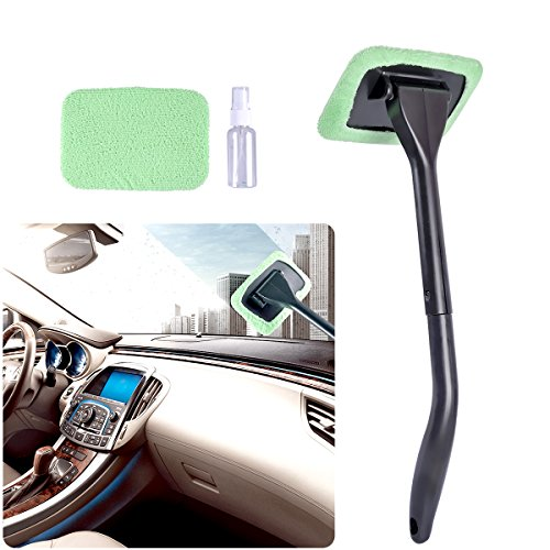 Interior Glass - AutoEC Auto Glass Cleaner Wiper Keeps Cars Vehicles Interior Exterior Windshields Windows Clean, Come with 2 Pads Washer Towel and 30ml Spray Bottle, Use Wet or Dry