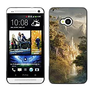 LECELL -- Funda protectora / Cubierta / Piel For HTC One M7 -- Design Japanese Forrest Mountains --