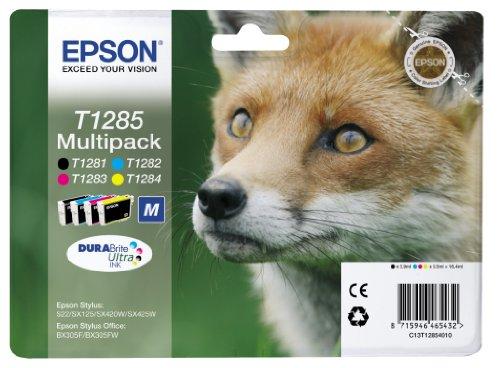 Epson T1285 Fuchs, wisch- und wasserfeste Tinte (Multipack, 4-farbig) (CYMK)