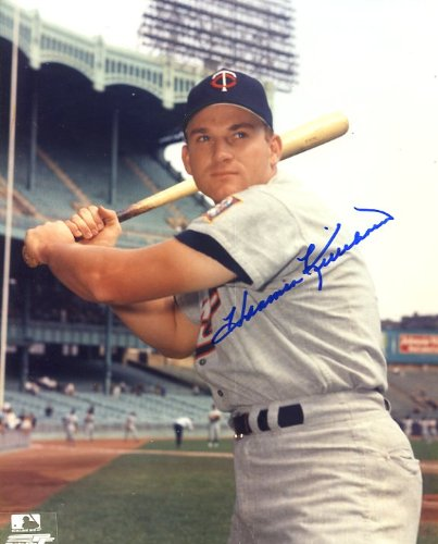 Harmon Killebrew (D. HOFer) Autographed/ Original Signed 8x10 Color Photo Showing Him in a Minnesota Twins Uniform (pose 3)