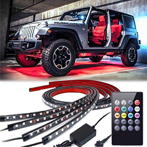 (Car Neon Underglow Lights, Auto Parts ClubWaterproof RGB LED Strip Light Multi-colored Underbody Exterior Lighting Kit with Sound Active Function and Wireless Remote Control 5050 SMD LED Light Strips)