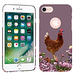 iPhone 7 Case / iPhone 8 Case - Floral Rooster Hard Plastic Back Cover. Slim Profile Cute Printed Designer Snap on Case by Glisten