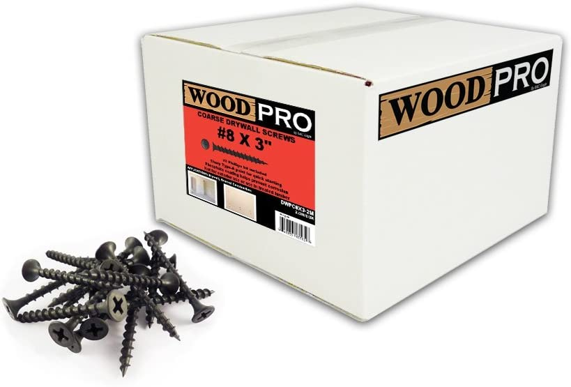 WoodPro Fasteners DWPC8X3-2M No 2 Phillips 2000-Count 8 by 3-Inch Coarse Drywall Screws