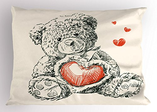 """Ambesonne Nursery Pillow Sham, Detailed Teddy Bear Drawing with Heart Instead of a Belly Mini Floating Hearts, Decorative Standard Queen Size Printed Pillowcase, 30"""" X 20"""", Ivory Black"""