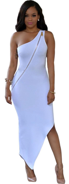 Allonly Women Sexy Sleeveless One Shoulder Zipper Bodycon Party Clubwear Dress