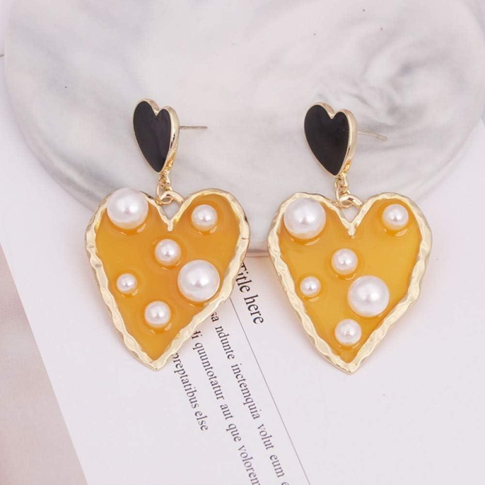 YCEOT Regalo de Pendiente Dulce de Perlas con Incrustaciones de Amor de Doble tamaño geométrico Irregular para Mujer