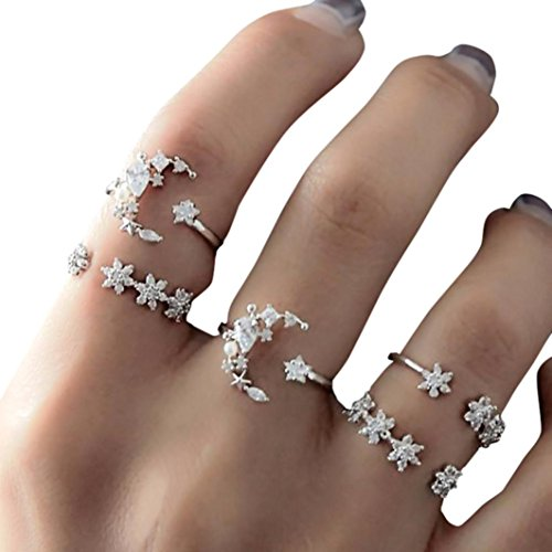 (KMG Kimloog 5PC Women Bohemian Star Moon CZ Crystal Knuckle Nail Midid Rings Set7 (Free Size, Silver))