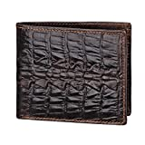 Men's Leather Wallet Carved Crocodile Tail Bifold Business ID Cards Case, Short
