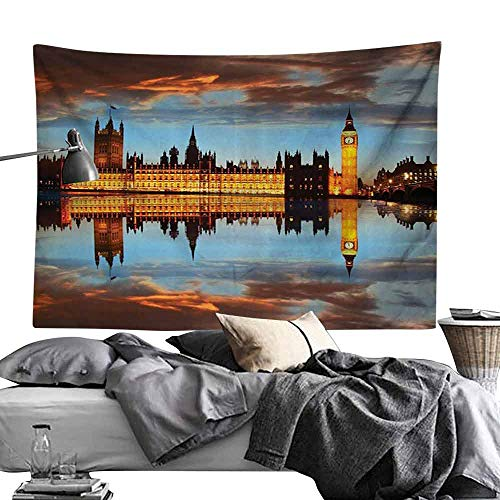 Homrkey Bed Linen Tapestry London Decor Collection Splendent Scene of Big Ben Westminster Palace in a Cloudy Night Reflected to Thames River Picture Wall Hanging W80 x L60 Gold ()