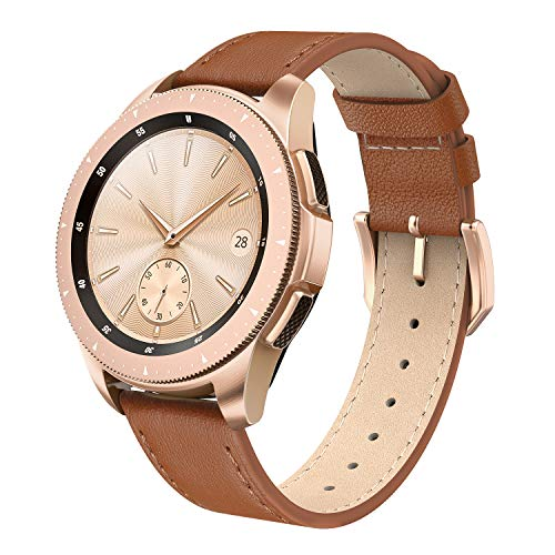 SWEES Genuine Leather Band Compatible for Galaxy Watch 42mm & Gear S2 Classic & Gear Sport, 20mm Learther Bands with Quick Release for Galaxy Watch Active 2 Smart Watch 2019 Women Men, Classic Brown