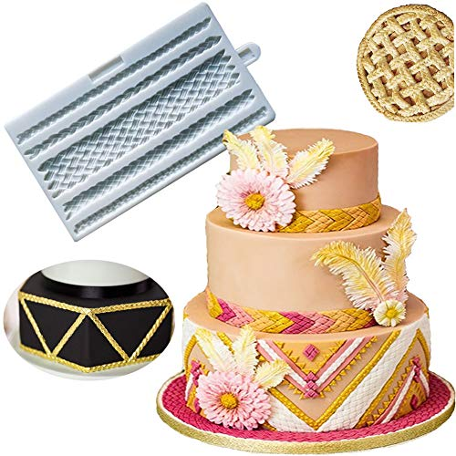 BUSOHA Braid Rope Plait Fondant Silicone Mold for Cake Border Lace Jewelry Decorating, Pie Crust Impression Mat Pastry Chocolate Sugarcraft Polymer Clay Gumpaste Epoxy ResinTool