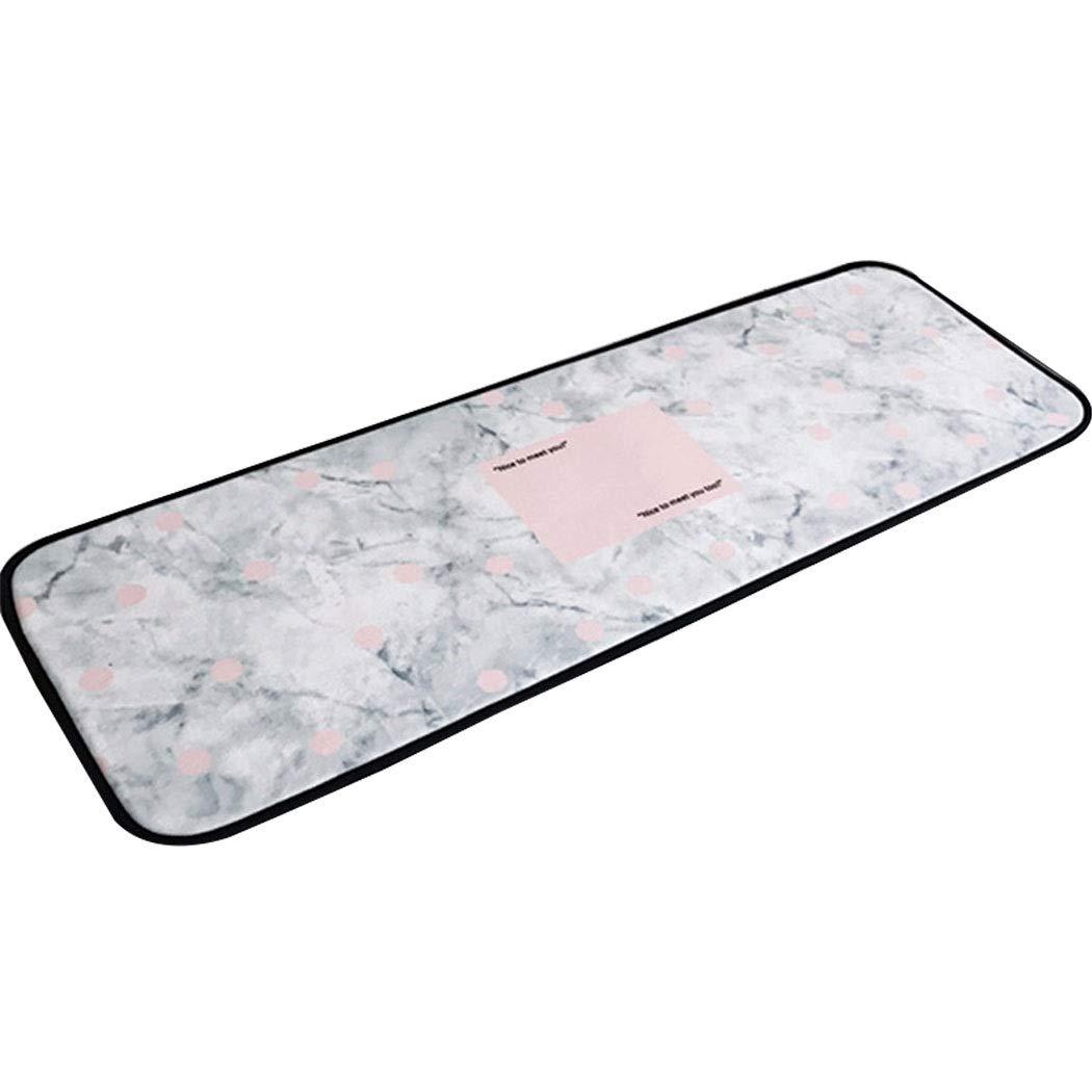 AXIANQIMat Bathroom Absorbent Non-Slip Mat White Polka Dot Marble Pattern Carpet Polyester Floor Mat Kitchen Barrier Mats170cm (Color : White, Size : 50170cm)
