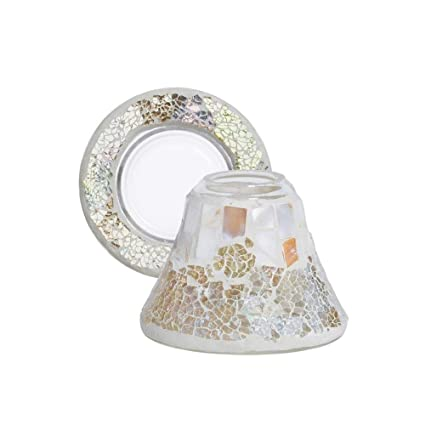 10/cm x 10/cm x 8.5/cm Yankee Candle 1348224/Gold Wave Lamp Shade and Plate Set Mother of Pearl Glass