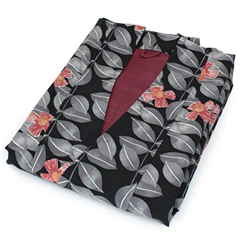 代表して昼食オンスきもの京小町 着物 コート 道中着コート 洗える レディース 仕立て上がり フリーサイズ 黒地 葉っぱ 椿
