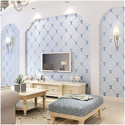 QIHANG European Modern Simple 3D Non-woven Imitation Deerskin Wallpaper Living Room TV Background Diamond lattice Pattern Wall paper Roll 1.73'(0.53m)32.8'(10m)=57 sq.ft(5.3m2) (Blue)