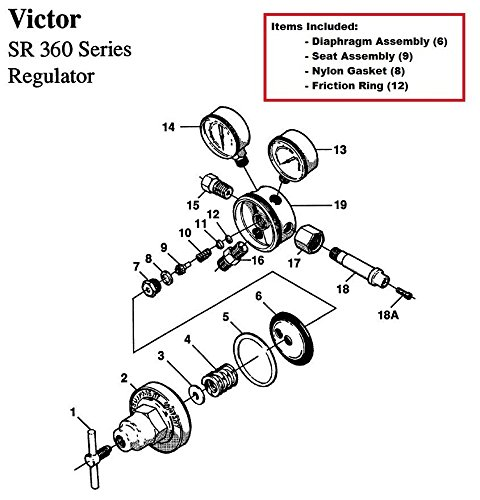 (Victor SR360A Acetylene Regulator Rebuild/Repair Parts Kit w/ Diaphagm)