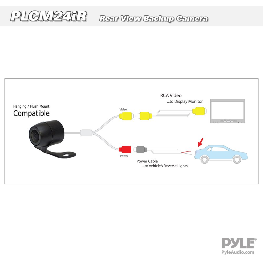 Marine Grade Waterproof Built-in Distance Scale Lines Backup Parking//Reverse Assist Flush or Hang Mount Cam w// 420 TVL Resolution /& RCA Output Universal Multi-Mount Rear View Camera Pyle PLCM24IR Sound Around