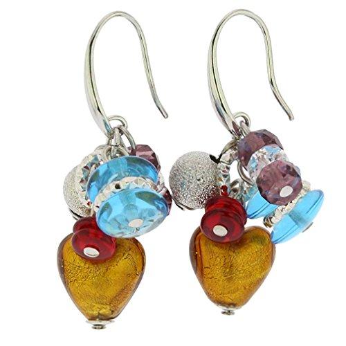 GlassOfVenice Murano Glass Donatella Heart Charms Earrings - Multicolor