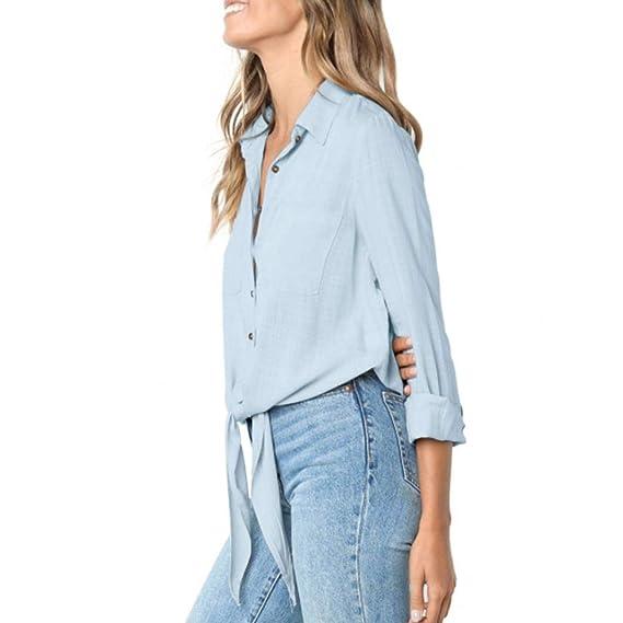 JiaMeng Mujer Casual Camiseta Tops Blusa, Moda Casual Blusa con Pu?os y Botones de Manga Larga Pullover Camisetas para Mujer: Amazon.es: Ropa y accesorios