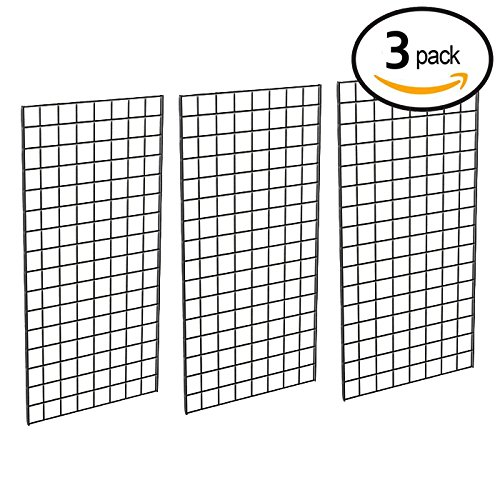 Grid Panel for Retail Display – Perfect Metal Grid for Any Retail Display, 2' Width x 4' Height, 3 Grids Per Carton (Black) - Retail Display Shelving