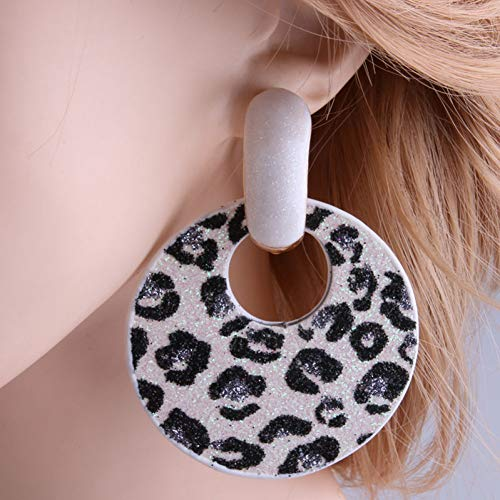 GEDASHU Earrings Big Earrings Round Dangle Zinc Alloy Large Long Printing Ear Leopard Christmas ()