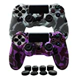 Hikfly Silicone Gel Controller Cover Skin Protector Kits for Sony PS4 /PS4 Slim/PS4 Pro Controller Video Games(2x Controller Cover with 8 x FPS Pro Thumb Grip Caps)(Purple,Grey) Review