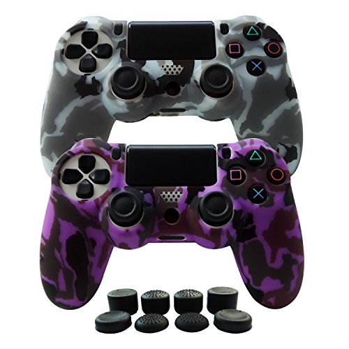 Hikfly Silicone Gel Controller Cover Skin Protector Kits for Sony PS4 /PS4 Slim/PS4 Pro Controller Video Games(2x Controller Cover with 8 x FPS Pro Thumb Grip Caps)(Purple,Grey)