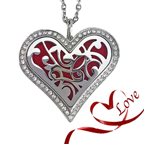 Heart Necklace Locket for Essential Oils - Love of Life Pendant - Perfect for Mothers Day Gifts, Anniversary or Birthday - Stainless Steel Pendant Includes Chain and Diffuser Pads and (Anniversary Bag)