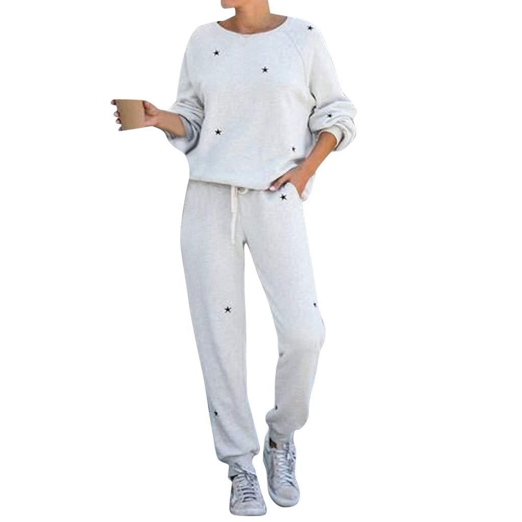Pantaloni Set Primavera e Estate Ragazze Coulisse Tops Pullover Manica Lunga Suit Casuale Completo Sportivo per Jogging BaZhaHei 2pcs Tuta Sportiva,Sciolto Felpa
